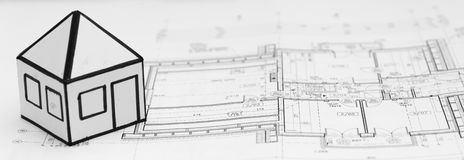 Pencil on architecture design drawings Royalty Free Stock Photography