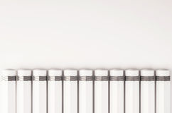 Pencil arrange in a row, with copy space, 3D rendered Royalty Free Stock Photos