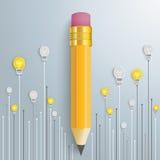Pencil Arrows Bulbs. Bulbs with pencil on the silver background Stock Photo