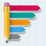 Pencil Arrows Infographic Checked Paper Royalty Free Stock Photo