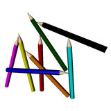 Pencil Art. Colored pencils spelling the word art on a white background Stock Images