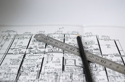 A pencil on the background of the architectural pl Royalty Free Stock Photo