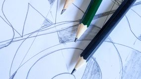 Pencil on background. Line and pencil on background Royalty Free Stock Image