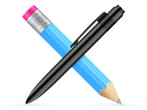 Pencil and pen icon Royalty Free Stock Photo