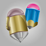 A Pencil and a Ballpoint. Vector illustration a blue pencil and a gold ballpoint stock illustration
