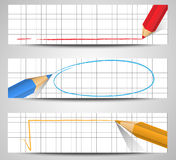 Pencil banners Royalty Free Stock Images