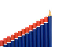Pencil Bar Graph. Concept of a bar graph created with pencils.  The final pencil in the graph is very sharp and pointing upwards Royalty Free Stock Image