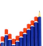 Pencil Bar Graph Concept. Concept of a bar graph created with pencils.  The final pencil in the graph is very sharp and pointing upwards Stock Photo