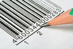 Pencil and barcode Royalty Free Stock Photos