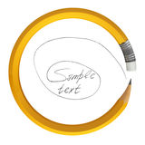 Pencil bend. Pencil bent in a circle, colorful drawings, on a white background, 3d render Stock Image