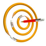 Pencil bend. Pencil bent in a circle, pencil hits the target, on a white background, 3d render Royalty Free Stock Photography