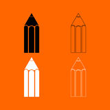 Pencil  black and white set icon . Stock Images