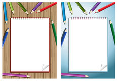 Pencil with blank notebook Stock Photo
