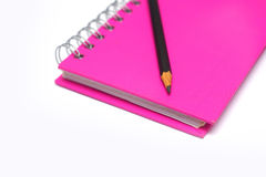 Pencil on blank page of note book Royalty Free Stock Photo
