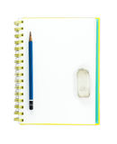 Pencil on Blank Page Stock Image