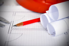 Pencil and blueprint Stock Image
