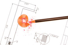 Pencil and blueprints for an architect's drawings. Pencil, plans and blueprints for an architect's design drawings stock image