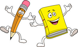 Pencil and book cartoon Stock Images
