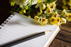Pencil and book with flowers. Royalty Free Stock Photos