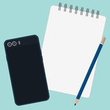 Pencil book and mobile phone Royalty Free Stock Photo