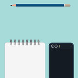 Pencil book and mobile phone Royalty Free Stock Photography