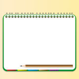 Pencil and bookmark with notebook. Pencil and bookmark in green notebook Royalty Free Stock Photos