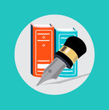 Pencil and books flat design vector Royalty Free Stock Images