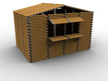 Pencil Booth. 3d rendered image of a booth/kiosk made of pencils Stock Images