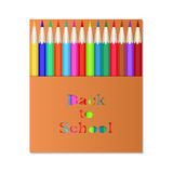Pencil3Box των χρωματισμένων μολυβιών Η χαρασμένη επιγραφή πίσω στο σχολείο Συσκευάζοντας μολύβια σχεδίου Ελεύθερη απεικόνιση δικαιώματος