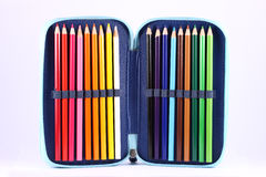 Pencil Box. With multicolored pencils Stock Photos