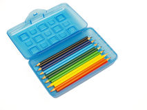 Pencil box colored pencils Royalty Free Stock Image
