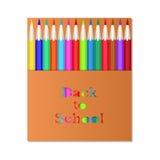 Pencil3Box delle matite colorate L'iscrizione scolpita di nuovo alla scuola Matite di progettazione di imballaggio Immagine Stock