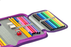 PENCIL BOX FULL WITH COLORFUL PENCILS AND MARKERS Royalty Free Stock Photos