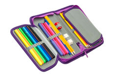 PENCIL BOX FULL WITH COLORFUL PENCILS AND MARKERS Stock Images