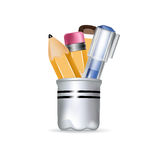 Pencil box with pens and pencils. Isolated royalty free stock images