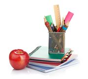 Pencil box with school equipment Stock Photography