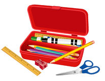 Pencil Box with School Supplies vector illustration