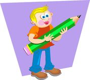 Pencil Boy stock illustration