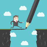 Pencil, bridge and man. Pencil drawing a bridge above abyss between cliffs for running man. Conquering adversity, business success, bridging the gap and vector illustration