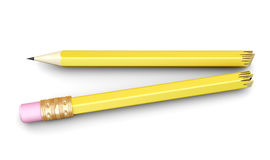 Pencil broken in half  on white background. 3d rendering Royalty Free Stock Images