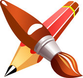 Pencil brush Royalty Free Stock Images