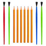 Pencil and Brush Royalty Free Stock Image