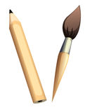 Pencil and brush Stock Image