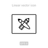 Pencil and brush. Linear  icon. Stock Photos