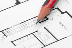 Pencil and building blueprint Royalty Free Stock Image