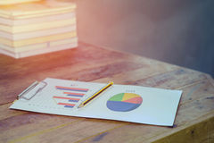 Pencil with  business charts graphs reports Royalty Free Stock Images