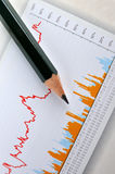 Pencil and business graph Stock Images