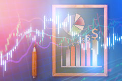 Pencil with business graph chart. Business analysis concept Stock Photos