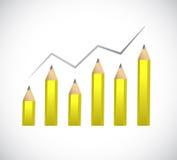 Pencil business graph illustration design Stock Photo