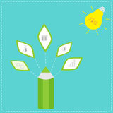Pencil with business icons and light bulb sun. Idea concept. Royalty Free Stock Photos